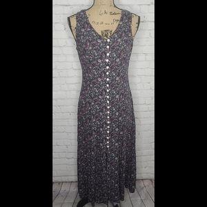 Vintage Purple Rose Grunge Maxi Dress Corset Back